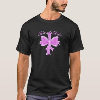 T-shirt C'est une fille ! Ruban et arc de satin