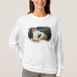 T-shirt Chat avec ses chatons sur un coussin