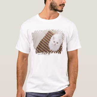 T-shirt Chat blanc se reposant sur le tapis