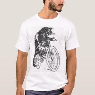 T-shirt Chat noir vintage sur la bicyclette