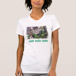 T-shirt Chat sur la proie - ajoutez votre propre texte