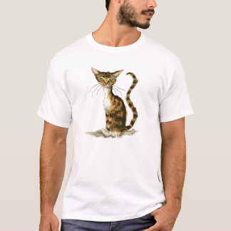 T-shirt Chat tigré brun maigre