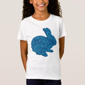 T-Shirt Chemise bleue de lapin de Pâques de silhouette de