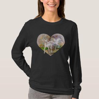 T-shirt Chemise - coeur de Pegasus de licorne
