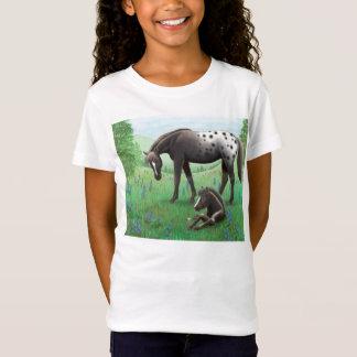 T-Shirt Chemise de Babydoll de filles de cheval et de