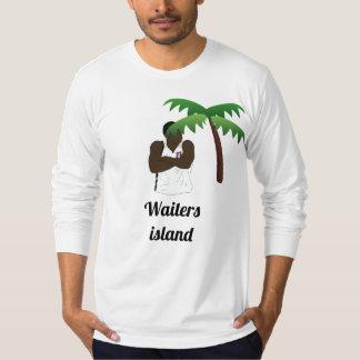 T-shirt Chemise de douille d'île de serveurs longue