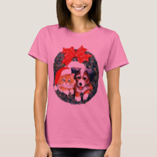 T-shirt chemise de guirlande de chien de chat