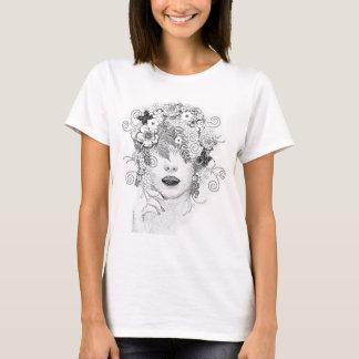 T-shirt Chemise de Madame Glamour de cheveux de fleur