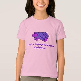 T-shirt Chemise de Noël de sapin d'hippopotame