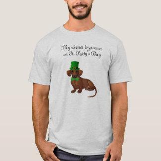 T-shirt Chemise de teckel du jour de St Patrick des hommes