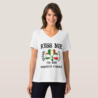 T-shirt CHEMISE ITALIENNE IRLANDAISE V de drapeau - le COU