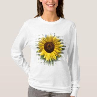 T-shirt Chemise jaune encadrée de tournesol