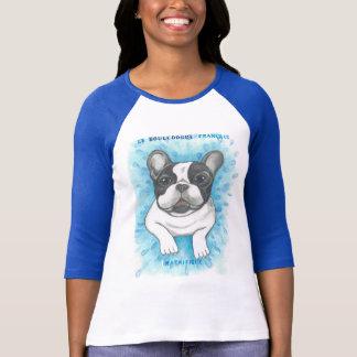 T-shirt Chemise raglane bleue de bouledogue français