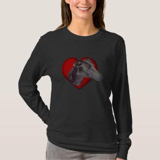 T-shirt Chemise rouge de chien de coeur de visage bleu de