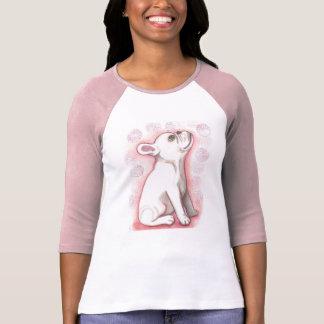 T-shirt chiot blanc de bouledogue français avec le rose