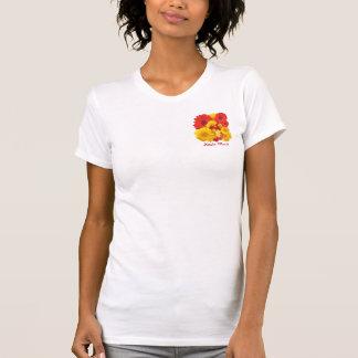 T-shirt Chrysanthèmes jaunes de marguerites rouges