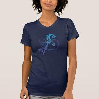 T-shirt Clé bleue mignonne de lune de coeur de silhouette