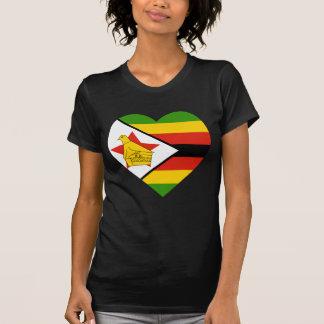 T-shirt Coeur de drapeau du Zimbabwe