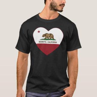 T-shirt coeur de Modesto de drapeau de la Californie