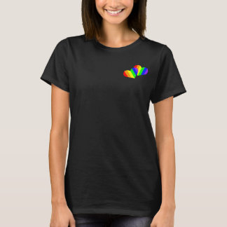 T-shirt Coeur de paire d'arc-en-ciel de 2 pressions