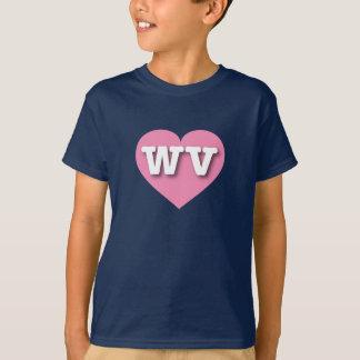 T-shirt Coeur rose de la Virginie Occidentale - grand