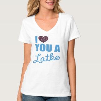 T-shirt Coeurs et Latkes de scintillement de Faux
