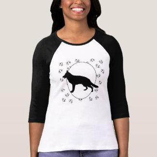 T-shirt Coeurs et Pawprints de chien de berger allemand