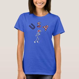 T-shirt Collez avec le BLEU BLANC rouge foncé de coureur