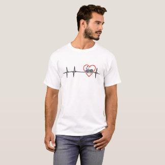 T-shirt conception de battement de coeur de knit