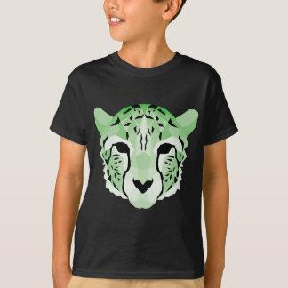 T-shirt Conception géométrique verte de guépard