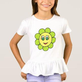 T-shirt Conception verte heureuse adorable de fleur