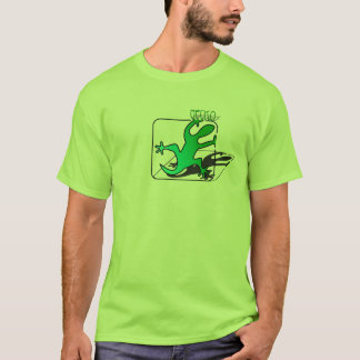 T-shirt Concevez l'art naïf, gecko vert avec le dropshadow