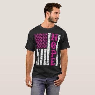 T-shirt Conscience rose T de cancer du sein de drapeau des
