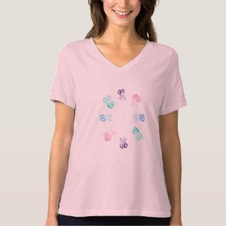 T-shirt convenable détendu du V-Cou des femmes de