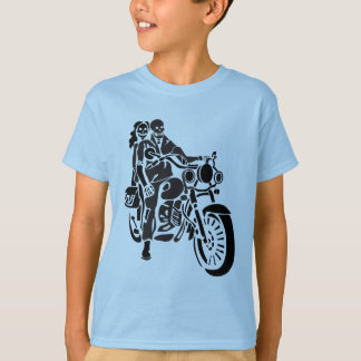 T-shirt Couples squelettiques de moto