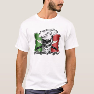 T-shirt Crâne italien de chef : Mangia ! Mangia !