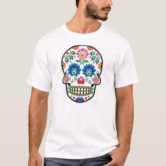 T-shirt Crâne mexicain de sucre, fusion polonaise d'art