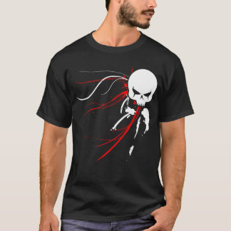 T-shirt Crâne rouge de Cyber (noir seulement)