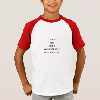T-shirt Créez la rétro pièce en t rayée de V-Cou de