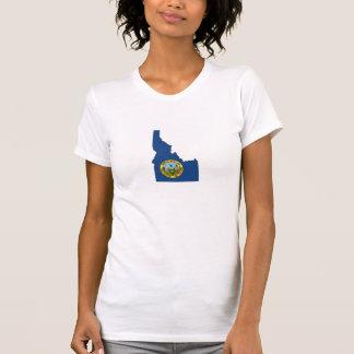 T-shirt Dames de drapeau et de carte d'état de l'Idaho