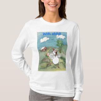 T-shirt Danse de poulet de bande dessinée avec l'oeuf