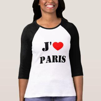 T-shirt de base-ball de Paris d'amour de J'aime