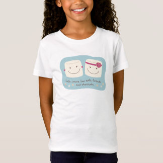 T-shirt de blanc d'amis de guimauve d'amusement de