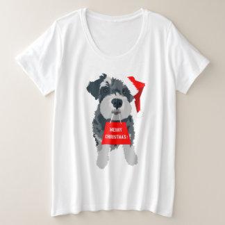T-shirt de casquette de Père Noël de chien de