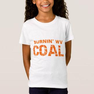 T-shirt de charbon de Burnin WV de la fille (texte