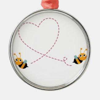 T-shirt de CONCEPTEURS avec des abeilles d'amour Ornement Rond Argenté