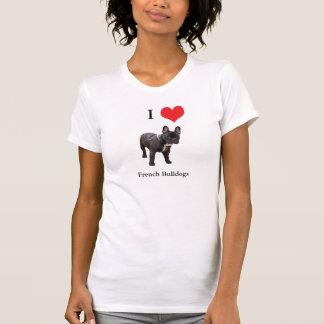 T-shirt de dames de coeur d'amour du bouledogue