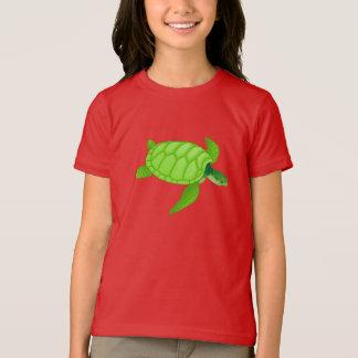 T-shirt de filles de tortue de mer verte