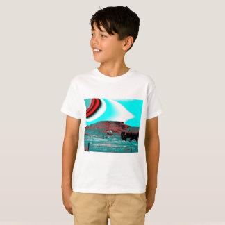 T-shirt de garçons avec la copie colorée de buffle