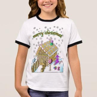 T-shirt de la sonnerie de la fille, Joyeux Noël